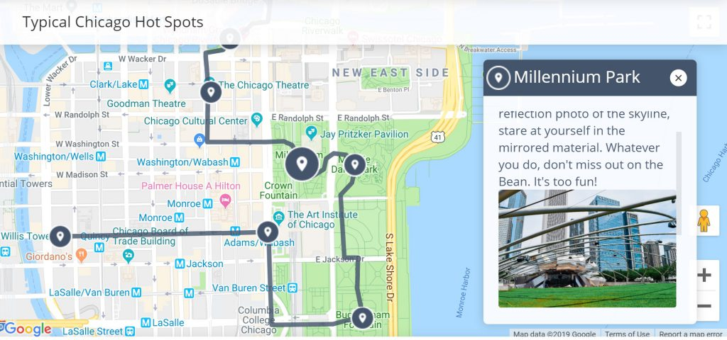 1 Day Chicago Itinerary | Walkli Travel Chicago Walking Tour Map on